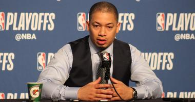 Cavs head coach Tyronn Lue speaks with reporters prior to Game 4 against Toronto on May 7, 2018