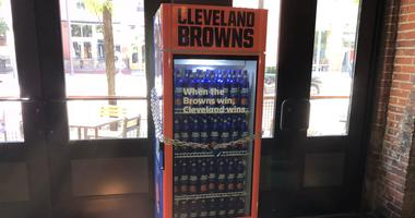 Bud Light Browns Victory Fridge at Barley House on W 6th Street in downtown Cleveland