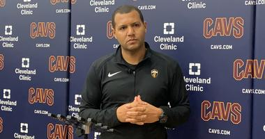 Koby Altman takes questions on April 12 at Cleveland Clinic Courts