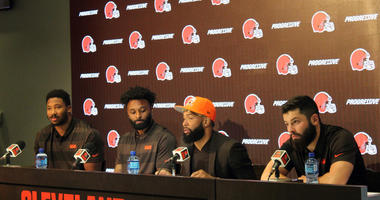 Odell Beckham Jr with Browns teammates