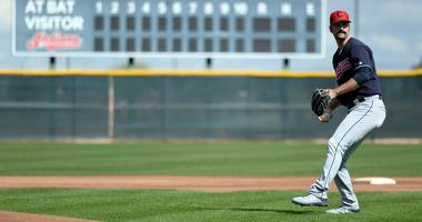 Feb 18, 2019; Goodyear, AZ, USA; Cleveland Indians pitcher Adam Plutko throws during a spring training workout at the Goodyear Ballpark practice fields. Mandatory Credit: Joe Camporeale-USA TODAY Sports