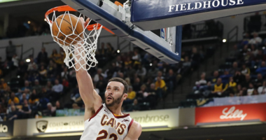 Feb 9, 2019; Indianapolis, IN, USA; Cleveland Cavaliers forward Larry Nance Jr. (22) dunks against the Indiana Pacers during the third quarter at Bankers Life Fieldhouse. Mandatory Credit: Brian Spurlock-USA TODAY Sports