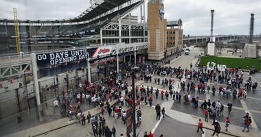 Apr 11, 2017; Cleveland, OH, USA; Fans wait to enter the field before the home opening game between the Cleveland Indians and the Chicago White Sox at Progressive Field. Mandatory Credit: Ken Blaze-USA TODAY Sports