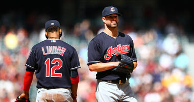 Apr 9, 2017; Phoenix, AZ, USA; Cleveland Indians pitcher Corey Kluber (right) with shortstop Francisco Lindor against the Arizona Diamondbacks at Chase Field. The Diamondbacks defeated the Indians 3-2 to sweep the three game series. Mandatory Credit: Mark