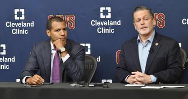 Jul 26, 2017; Cleveland, OH, USA; Cleveland Cavaliers general manager Koby Altman (L) and owner Dan Gilbert (R) speak during a press conference at Cleveland Clinic Courts. Mandatory Credit: David Richard-USA TODAY Sports