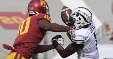 Western Michigan Broncos defensive back Sam Beal (1) intercepts a pass intended for Southern California Trojans wide receiver Jalen Greene (10) during a NCAA football game at Los Angeles Memorial Coliseum.