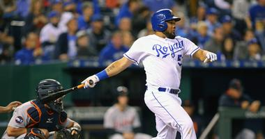 Sep 27, 2017; Kansas City, MO, USA; Kansas City Royals right fielder Melky Cabrera (53) hits an RBI single against the Detroit Tigers in the third inning at Kauffman Stadium.