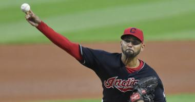Sep 27, 2017; Cleveland, OH, USA; Cleveland Indians starting pitcher Danny Salazar (31) delivers in the first inning against the Minnesota Twins at Progressive Field. Mandatory Credit: David Richard-USA TODAY Sports