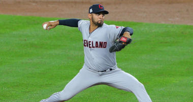 October 9, 2017; Bronx, NY, USA; Cleveland Indians starting pitcher Danny Salazar (31) throws in the fourth inning against the New York Yankees during game four of the 2017 ALDS playoff baseball series at Yankee Stadium.