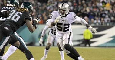 Oakland Raiders defensive end Khalil Mack (52) during an NFL football game against the Philadelphia Eagles at Lincoln Financial Field.