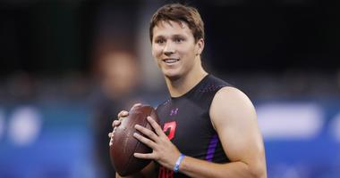 Wyoming Cowboys quarterback Josh Allen throws a pass during the 2018 NFL Combine at Lucas Oil Stadium.