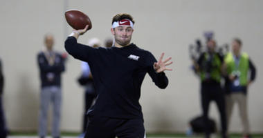 Mar 14, 2018; Stillwater, OK, USA; Oklahoma quarterback Baker Mayfield participates in passing drills during Pro Day at Everestt Training Center. Mandatory Credit: Mark D. Smith-USA TODAY Sports