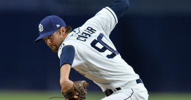 San Diego Padres relief pitcher Adam Cimber (90) pitches during the ninth inning against the Colorado Rockies at Petco Park.