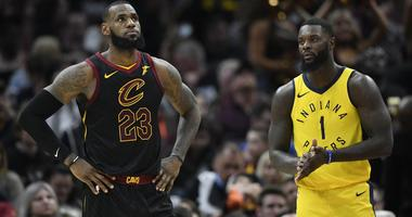 Cavaliers forward LeBron James (23) and Indiana Pacers guard Lance Stephenson (1) in the second quarter in game one of the first round of the 2018 NBA Playoffs