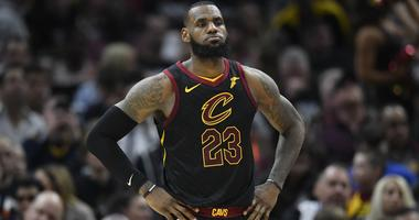 Cavaliers forward LeBron James (23) reacts in the second quarter against the Indiana Pacers in game one of the first round of the 2018 NBA Playoffs