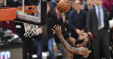 Cavaliers forward LeBron James (23) scores on a layup during the first half against the Indiana Pacers in game two of the first round of the 2018 NBA Playoffs