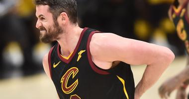 Cavaliers center Kevin Love (0) grimaces in pain after injuring his hand during the second half against the Indiana Pacers in game two of the first round of the 2018 NBA Playoffs