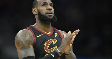 Cavaliers forward LeBron James (23) reacts in the first quarter against the Indiana Pacers in game five of the first round of the 2018 NBA Playoffs at Quicken Loans Arena