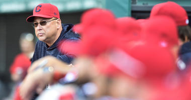 May 1, 2018; Cleveland, OH, USA; Cleveland Indians manager Terry Francona watches the game from the dugout during the second inning against the Texas Rangers at Progressive Field.