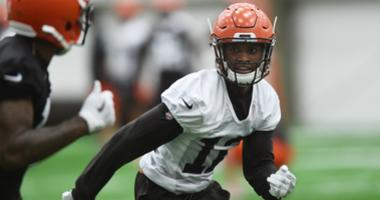 Browns defensive back Denzel Ward (12) covers a receiver during rookie minicamp at the Cleveland Browns training facility