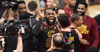May 5, 2018; Cleveland, OH, USA; Cleveland Cavaliers forward LeBron James (23) celebrates teammates after hitting the final basket to win the game against the Toronto Raptors in game three of the second round of the NBA Playoffs at Quicken Loans Arena.