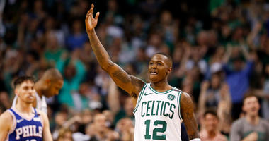 May 9, 2018; Boston, MA, USA; Boston Celtics guard Terry Rozier (12) reacts after the Celtics beat the Philadelphia 76ers in game five of the second round of the 2018 NBA Playoffs at the TD Garden.