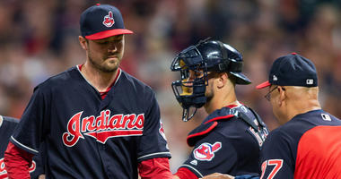 May 25, 2018; Cleveland, OH, USA; Cleveland Indians pitcher Andrew Miller, (left), gives the ball to Cleveland Indians manager Terry Francona after giving up a two run hit to the Houston Astros during the eighth inning at Progressive Field.