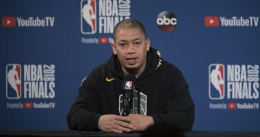 May 30, 2018; Oakland, CA, USA; Cleveland Cavaliers head coach Tyronn Lue addresses the media in a press conference during NBA Finals media day at Oracle Arena.
