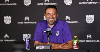 Sacramento Kings vice president of basketball Vlade Divac laughs during an introduction press conference at Golden 1 Center.