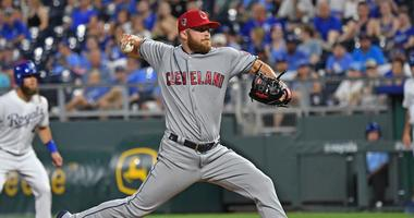 Jul 3, 2018; Kansas City, MO, USA; Cleveland Indians relief pitcher Cody Allen (37) delivers a pitch during the eighth inning against the Kansas City Royals at Kauffman Stadium.