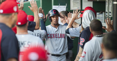 Jul 4, 2018; Kansas City, MO, USA; Cleveland Indians left fielder Michael Brantley (23) scores on a sacrifice fly by Cleveland Indians designated hitter Edwin Encarnacion (10) (not pictured) in the first inning against the Kansas City Royalsat Kauffman St