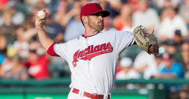 Cleveland Indians starting pitcher Shane Bieber (57) throws a pitch during the first inning against the New York Yankees at Progressive Field.