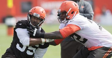 Cleveland Browns defensive end Myles Garrett (95) works against offensive tackle Shon Coleman (72) during training camp at the Cleveland Browns Training Complex.
