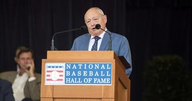 Jul 28, 2018; Cooperstown, NY, USA; The J.G. Taylor Spink Award for writers, Sheldon Ocker makes his acceptance speech during the awards presentation at Doubleday Field.
