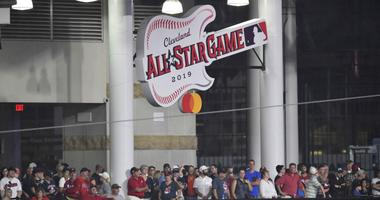 A general view of a sign of the 2019 All-Star Game logo in left field at Progressive Field.