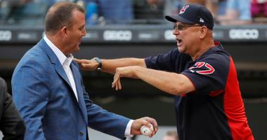 Aug 11, 2018; Chicago, IL, USA; Former Chicago White Sox player and Hall of Famer Jim Thome jokes with Cleveland Indians manager Terry Francona during a ceremony before a game between the Chicago White Sox and the Cleveland Indians at Guaranteed Rate Fiel