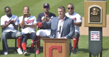 Former Cleveland Indians player Jim Thome speaks during his uniform number retirement ceremony at Progressive Field.