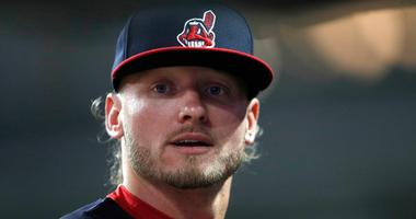 Sep 1, 2018; Cleveland, OH, USA; Cleveland Indians third baseman Josh Donaldson (20) looks on from the dugout during the seventh inning against the Tampa Bay Rays at Progressive Field.