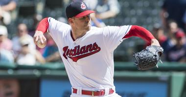 Sep 5, 2018; Cleveland, OH, USA; Cleveland Indians starting pitcher Corey Kluber (28) throws a pitch during the first inning against the Kansas City Royals at Progressive Field. Mandatory Credit: Ken Blaze-USA TODAY Sports