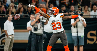 Sep 16, 2018; New Orleans, LA, USA; Cleveland Browns cornerback Damarious Randall (23) celebrates after a fumble recovery against the New Orleans Saints during the first quarter at the Mercedes-Benz Superdome. Mandatory Credit: Derick E. Hingle-USA TODAY