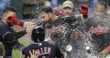 Sep 19, 2018; Cleveland, OH, USA; Cleveland Indians center fielder Jason Kipnis (22) celebrates his game-winning grand slam in the ninth inning against the Chicago White Sox at Progressive Field.