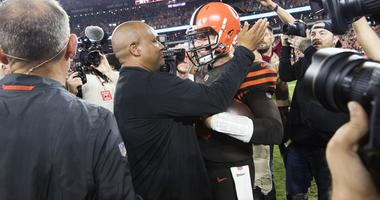 Cleveland Browns head coach Hue Jackson and quarterback Baker Mayfield (6) celebrate after the Browns beat the New York Jets at FirstEnergy Stadium.