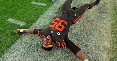 Sep 20, 2018; Cleveland, OH, USA; Cleveland Browns defensive end Myles Garrett (95) celebrates after the second half of a game against the New York Jets at FirstEnergy Stadium.