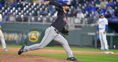 Sep 28, 2018; Kansas City, MO, USA; Cleveland Indians relief pitcher Adam Plutko (45) delivers a pitch in the ninth inning against the Kansas City Royals at Kauffman Stadium. Cleveland won 14-6. Mandatory Credit: Denny Medley-USA TODAY Sports