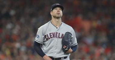Cleveland Indians starting pitcher Corey Kluber (28) looks at a single by Houston Astros left fielder Marwin Gonzalez (not pictured) during the fifth inning in game one of the 2018 ALDS playoff baseball series at Minute Maid Park.