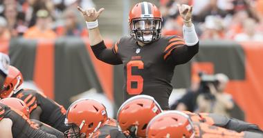 Cleveland Browns quarterback Baker Mayfield (6) calls a play during the first half against the Baltimore Ravens at FirstEnergy Stadium.