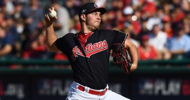Oct 8, 2018; Cleveland, OH, USA; Cleveland Indians starting pitcher Trevor Bauer (47) throws a pitch in the sixth inning against the Houston Astros during game three of the 2018 ALDS playoff baseball series at Progressive Field. Mandatory Credit: Ken Blaz