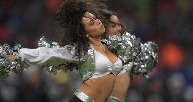 Oakland Raiders raiderette cheerleaders perform during an NFL International Series game against the Seattle Seahawks at Wembley Stadium.