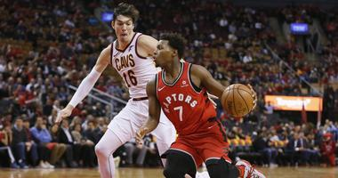 oronto Raptors guard Kyle Lowry (7) drives to the net against Cleveland Cavaliers forward Cedi Osman (16) at Scotiabank Arena. Toronto defeated Cleveland.