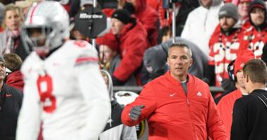 Ohio State Buckeye head coach Urban Meyer reacts in the fourth quarter during their game against the Purdue Boilermakers at Ross-Ade Stadium.